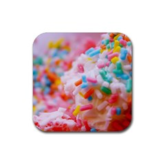 Birthday Cake Rubber Square Coaster (4 Pack)  by boho