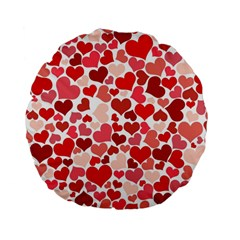 Red Hearts Standard 15  Premium Flano Round Cushions by boho