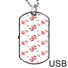 Vintage Cherry Dog Tag Usb Flash (one Side) by boho