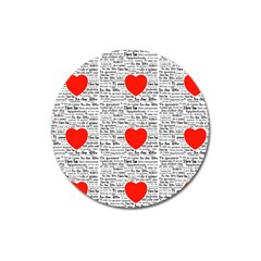 I Love You Magnet 3  (round) by boho