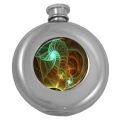 Art Shell Spirals Texture Round Hip Flask (5 Oz) by Simbadda