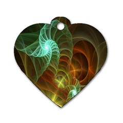 Art Shell Spirals Texture Dog Tag Heart (one Side) by Simbadda
