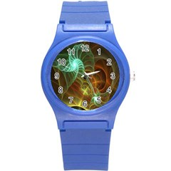 Art Shell Spirals Texture Round Plastic Sport Watch (s) by Simbadda