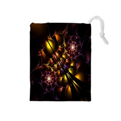 Art Design Image Oily Spirals Texture Drawstring Pouches (medium)  by Simbadda