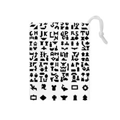 Anchor Puzzle Booklet Pages All Black Drawstring Pouches (medium)  by Simbadda