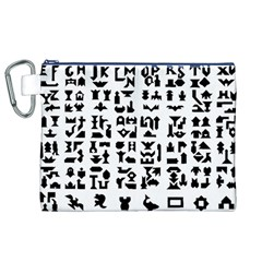 Anchor Puzzle Booklet Pages All Black Canvas Cosmetic Bag (xl) by Simbadda