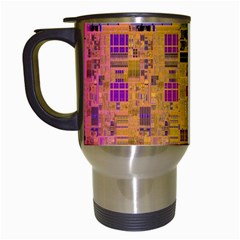 Circuit Board Pattern Lynnfield Die Travel Mugs (white) by Simbadda