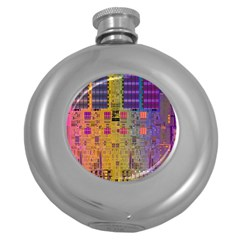 Circuit Board Pattern Lynnfield Die Round Hip Flask (5 Oz) by Simbadda
