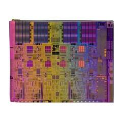 Circuit Board Pattern Lynnfield Die Cosmetic Bag (xl) by Simbadda