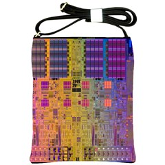 Circuit Board Pattern Lynnfield Die Shoulder Sling Bags by Simbadda