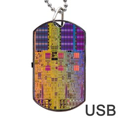 Circuit Board Pattern Lynnfield Die Dog Tag Usb Flash (two Sides) by Simbadda