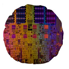 Circuit Board Pattern Lynnfield Die Large 18  Premium Round Cushions by Simbadda
