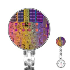 Circuit Board Pattern Lynnfield Die Stainless Steel Nurses Watch by Simbadda