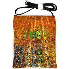Circuit Board Pattern Shoulder Sling Bags by Simbadda