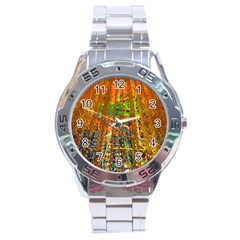 Circuit Board Pattern Stainless Steel Analogue Watch by Simbadda