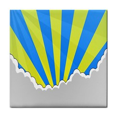 Sunlight Clouds Blue Sky Yellow White Tile Coasters by Alisyart