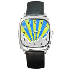 Sunlight Clouds Blue Sky Yellow White Square Metal Watch by Alisyart