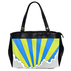 Sunlight Clouds Blue Sky Yellow White Office Handbags (2 Sides)  by Alisyart