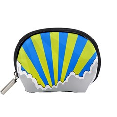 Sunlight Clouds Blue Sky Yellow White Accessory Pouches (small)  by Alisyart