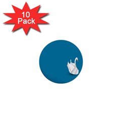 Swan Animals Swim Blue Water 1  Mini Buttons (10 Pack)  by Alisyart