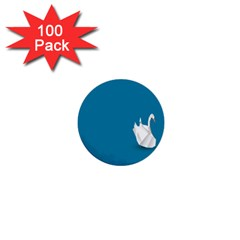 Swan Animals Swim Blue Water 1  Mini Buttons (100 Pack)  by Alisyart