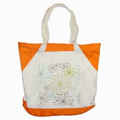 Retro Floral Flower Seamless Gold Blue Brown Accent Tote Bag by Alisyart