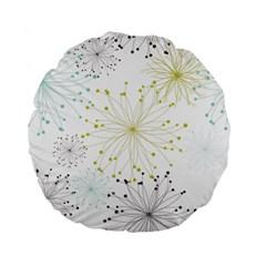 Retro Floral Flower Seamless Gold Blue Brown Standard 15  Premium Flano Round Cushions by Alisyart