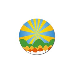 Sunlight Clouds Blue Yellow Green Orange White Sky Golf Ball Marker by Alisyart