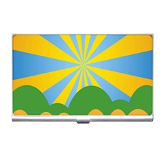Sunlight Clouds Blue Yellow Green Orange White Sky Business Card Holders by Alisyart