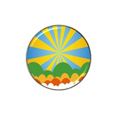 Sunlight Clouds Blue Yellow Green Orange White Sky Hat Clip Ball Marker (4 Pack) by Alisyart