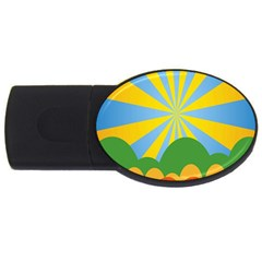 Sunlight Clouds Blue Yellow Green Orange White Sky Usb Flash Drive Oval (4 Gb) by Alisyart