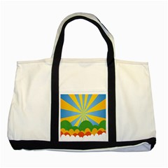 Sunlight Clouds Blue Yellow Green Orange White Sky Two Tone Tote Bag by Alisyart