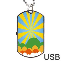 Sunlight Clouds Blue Yellow Green Orange White Sky Dog Tag Usb Flash (two Sides) by Alisyart