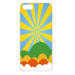 Sunlight Clouds Blue Yellow Green Orange White Sky Apple Iphone 5 Seamless Case (white) by Alisyart