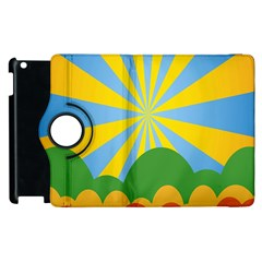 Sunlight Clouds Blue Yellow Green Orange White Sky Apple Ipad 3/4 Flip 360 Case by Alisyart