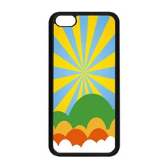 Sunlight Clouds Blue Yellow Green Orange White Sky Apple Iphone 5c Seamless Case (black) by Alisyart