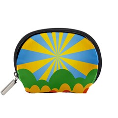 Sunlight Clouds Blue Yellow Green Orange White Sky Accessory Pouches (small)  by Alisyart