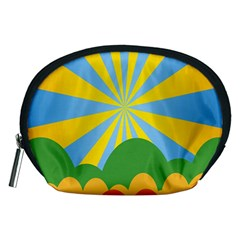 Sunlight Clouds Blue Yellow Green Orange White Sky Accessory Pouches (medium)  by Alisyart