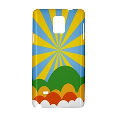Sunlight Clouds Blue Yellow Green Orange White Sky Samsung Galaxy Note 4 Hardshell Case