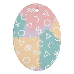 Triangle Circle Wave Eye Rainbow Orange Pink Blue Sign Oval Ornament (Two Sides)