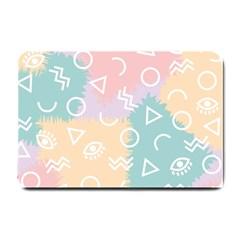 Triangle Circle Wave Eye Rainbow Orange Pink Blue Sign Small Doormat  by Alisyart