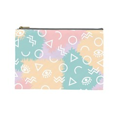 Triangle Circle Wave Eye Rainbow Orange Pink Blue Sign Cosmetic Bag (large)  by Alisyart