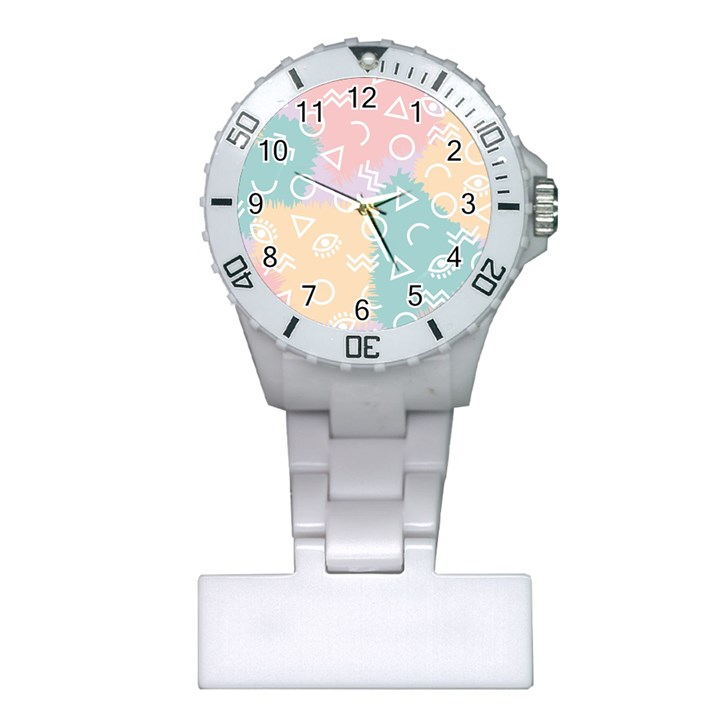 Triangle Circle Wave Eye Rainbow Orange Pink Blue Sign Plastic Nurses Watch