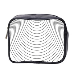 Wave Black White Line Mini Toiletries Bag 2 Side by Alisyart