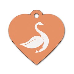 Swan Girl Face Hair Face Orange White Dog Tag Heart (one Side) by Alisyart