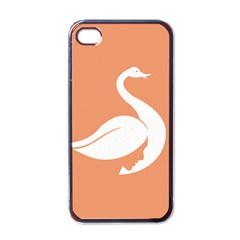 Swan Girl Face Hair Face Orange White Apple Iphone 4 Case (black) by Alisyart