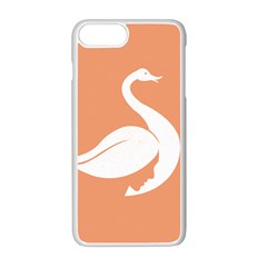 Swan Girl Face Hair Face Orange White Apple iPhone 7 Plus White Seamless Case by Alisyart