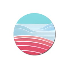 Wave Waves Blue Red Magnet 3  (round) by Alisyart