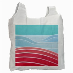 Wave Waves Blue Red Recycle Bag (one Side) by Alisyart