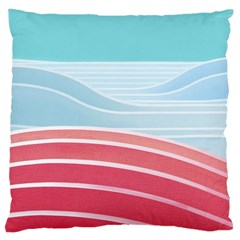 Wave Waves Blue Red Large Cushion Case (two Sides) by Alisyart